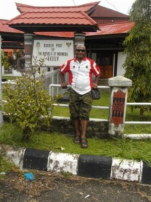 Sil Bolkin at the Indonesian border