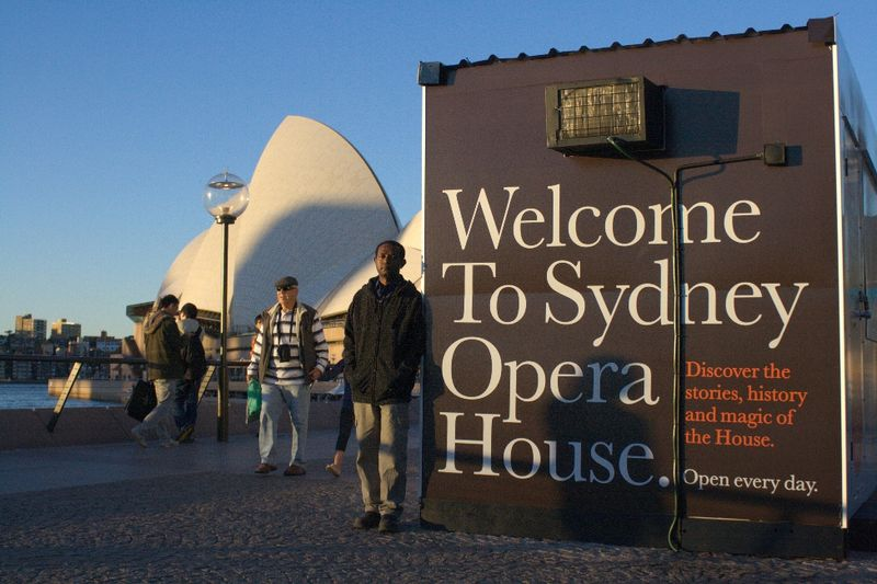Martyn Namorong in the Opera House forecourt