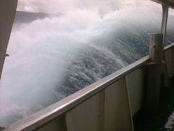 Ferry pounded by wild seas before it sank