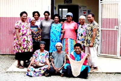 Artisans group members pose outside their offices in Mt Hagen