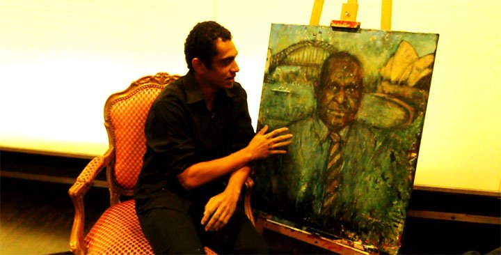 Jeffry Feeger with Namah painting