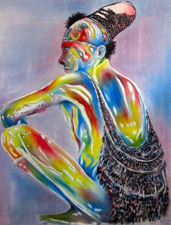 Rainbow Man by Bala Moumou (acrylic on canvas)