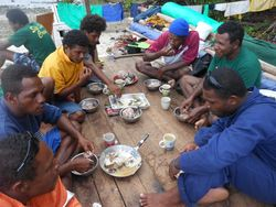 Climate Challenger crew enjoying our traditional Manus staples – sago and fish, for breakfast (Manuai Matawai)