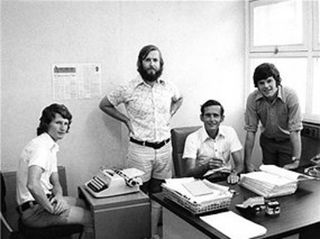Sean Dorney, Bruce Bertrand, Albert Asbury & Bob Lawrence - NBC Newsroom, Port Moresby, 1974