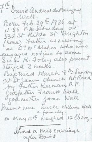 Dave's mother's handwritten account of his birth