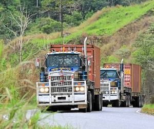 A convoy climbs into the PNG highlands
