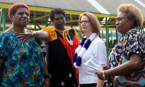 Julia Gillard greets women vendors at Gerehu Market