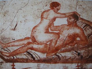 Wall fresco from ancient Pompeii brothel