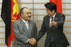 Peter O'Neill meets with Japan's Prime Minister Shinzo Abe