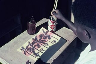 Bougainville schoolgirl painting at Tarlena Catholic School, 1965 (Patrick Mallinson)
