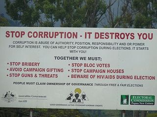 Corruption destroys election poster
