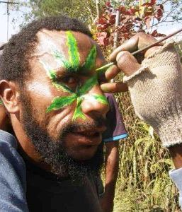 Marijuana leaf face painting