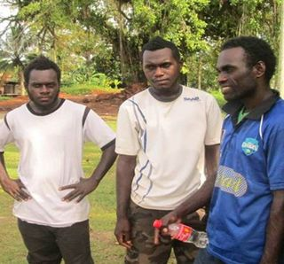 Peter Karatapi (right), Gideon Davika (centre) with Arawa friend (Leonard Roka)