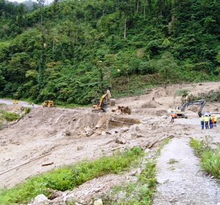 Clearing the landslip