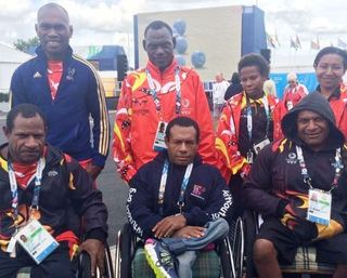 Team PNG has received shoes, socks and wheelchairs (Barbara Miller, ABC)