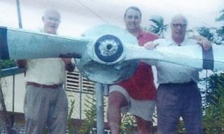 Terry, Michael & Rob Parer with prop of Ray Parer's Fairy Fighter, 2000
