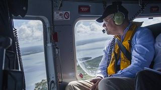 Scott Morrison flying over the Torres Strait islands (Brian Cassey)