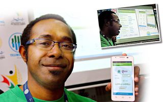 Shadrach proudly displays RaitAPP on his mobile. Inset - He demonstrates one of the features of RaitAPP