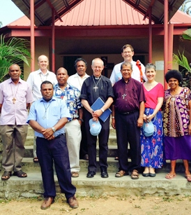 The Archbishop and Mrs Welby with the Archbishop of PNG and diocesan bishops