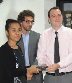 Crocodile Prize Awards - Iriani Wanma accepts award from Buk bilong Pikinini (Ben Jackson behind)