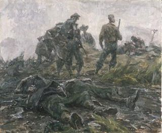 Battlefield burial of three NCOs by Ivor Hele (Australian War Memorial, )
