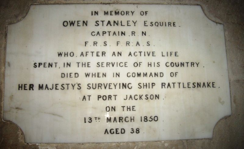 Owen Stanley's plaque in St Thomas Church (Bob Lawrence)