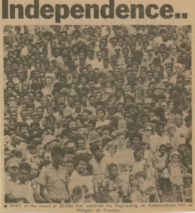 Part of the crowd at Independence Hill on 16 September 1975.