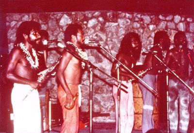 Sanguma band at UPNG Amphitheatre, 1970s. Tony Subam is centre