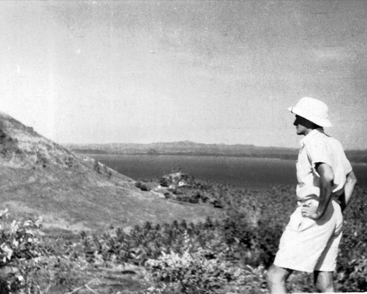 Bill on hills above Kairuku, 1950