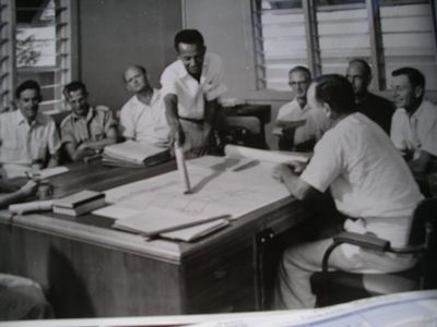 Ken chairs a senior education officers meeting, Madang, 1968