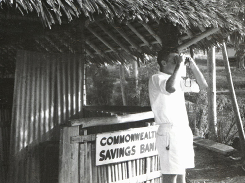 04 Bill Brown in front of Vanimo Patrol Post, 1955