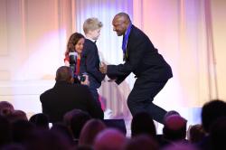Jimmy Drekore receives his World of Children Award in New York