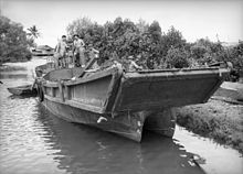 One of the Japanese barges after the battle