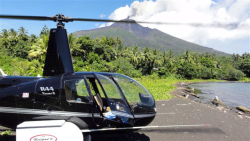 Peter Barter's helicopter & Manam volcano