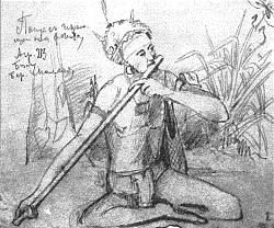 Papuan playing the flute by Miklouho-Maclay