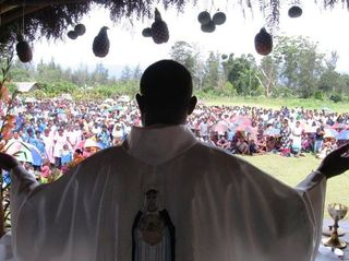 Fr Peter Ripa at Thanksgiving Mass outside Mount Hagen Cathedral