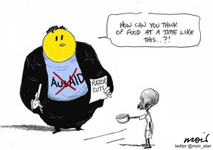 2015 federal budget cuts Australian aid by $1.1 billion (Alan Moir)