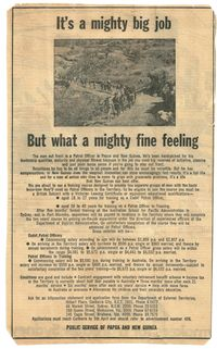 Newspaper advertisement for kiaps, circa 1966