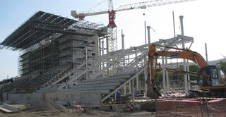 Sir John Guise Stadium in Port Moresby under construction for the XV Pacific Games