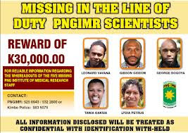 Poster offering reward for the missing scientists