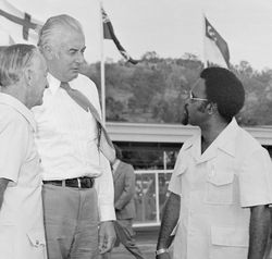 Gough Whitlam Sir Michael Somare. PNG Independence Day, 1975