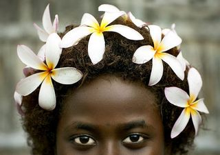 Bougainville girl and frangipan headress