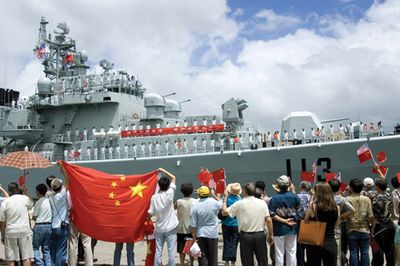 Chinese warship leaves port