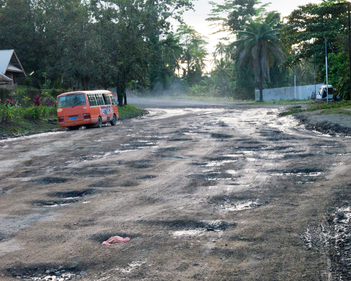 More pot holes than road in Lae