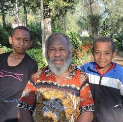 Johannes Kundal and his two grandsons, Victor & Archie