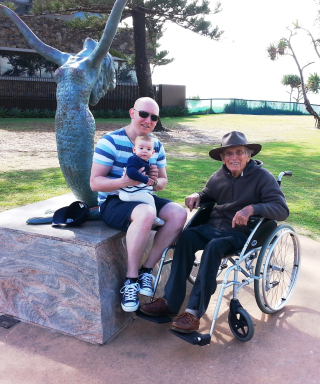 David, Carla & Hal Holman with Hal's mermaid at Mermaid Beach