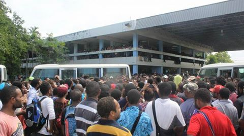 Students gather at UPNG to discuss the termination decision