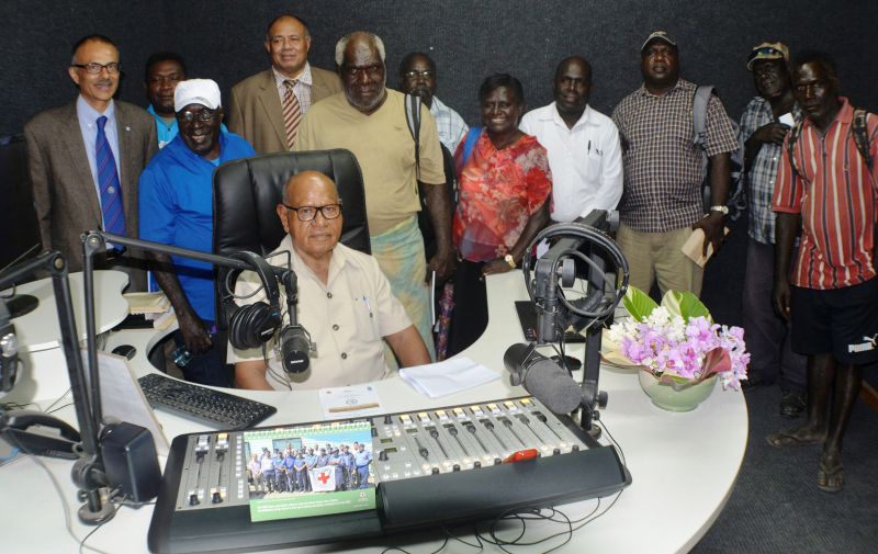 Dr John Momis with UNDP and local leaders launch NBC Bougainville studios