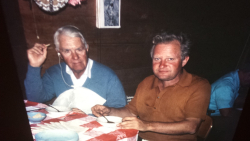 Dan Leahy and Fr Joe McDermott at Ulga parish house, circa 1972