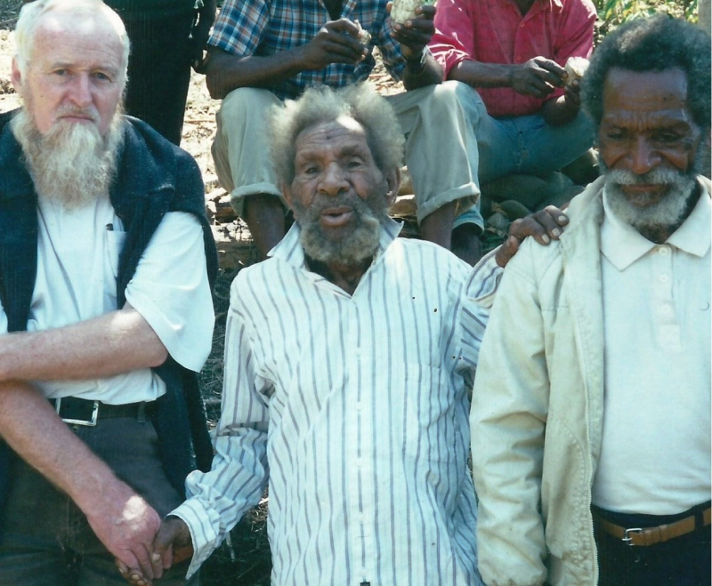 Fr Garry Roche, Ongka Kaepa and Michael Pagl shortly before Ongka died